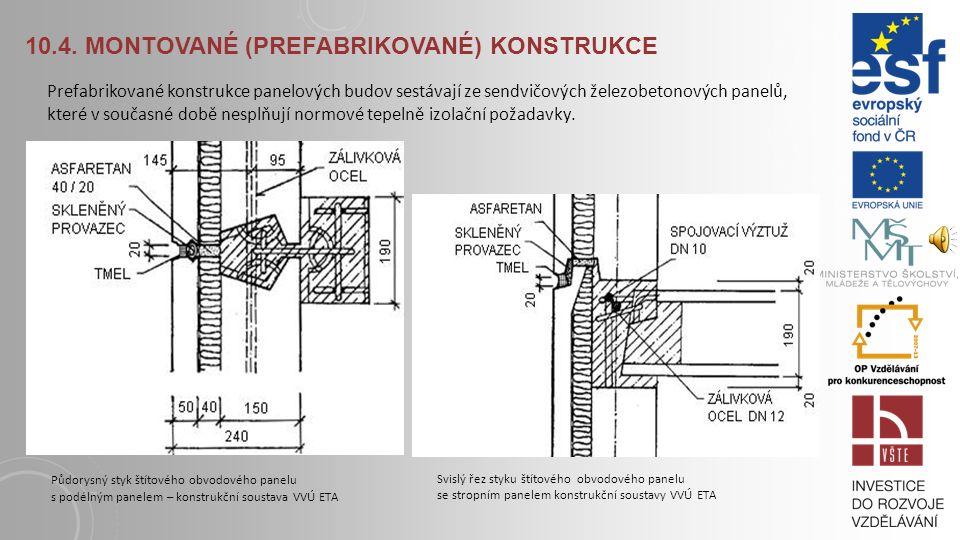 10.4. MONTOVANÉ (PREFABRIKOVANÉ) KONSTRUKCE Konstrukční soustava VVÚ ETA zahrnuje obvodové štítové a vnitřní nosné panely, obvodový plášť sestávající