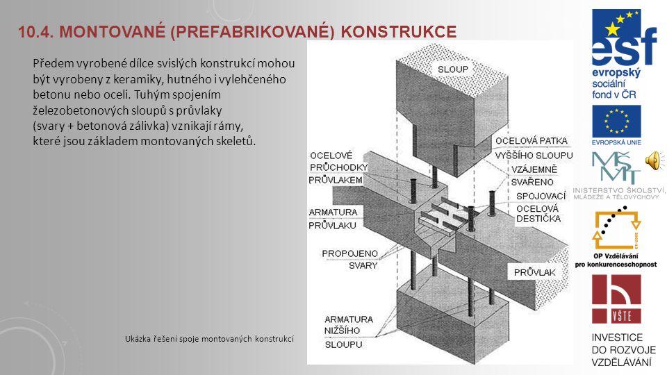 10.4. MONTOVANÉ (PREFABRIKOVANÉ) KONSTRUKCE Stropní panely konstrukční soustavy VVÚ ETA jsou nepředpjaté či předpjaté vylehčené kruhovými dutinami pro