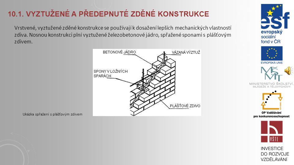 10.1. VYZTUŽENÉ A PŘEDEPNUTÉ ZDĚNÉ KONSTRUKCE Při stlačování zdiva má malta tendenci k roztahování ve vodorovném směru, kolmém na směr tlaku. Únosnost