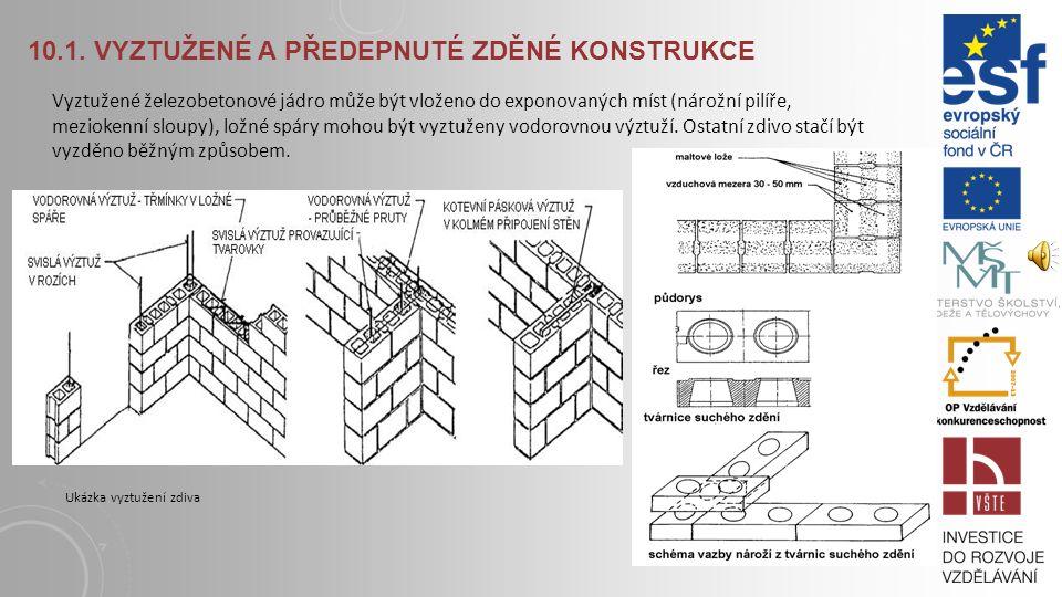 10.1. VYZTUŽENÉ A PŘEDEPNUTÉ ZDĚNÉ KONSTRUKCE Vrstvené, vyztužené zděné konstrukce se používají k dosažení lepších mechanických vlastností zdiva. Nosn
