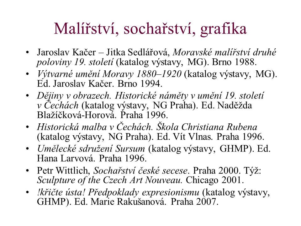 Malířství, sochařství, grafika Jaroslav Kačer – Jitka Sedlářová, Moravské malířství druhé poloviny 19. století (katalog výstavy, MG). Brno 1988. Výtva