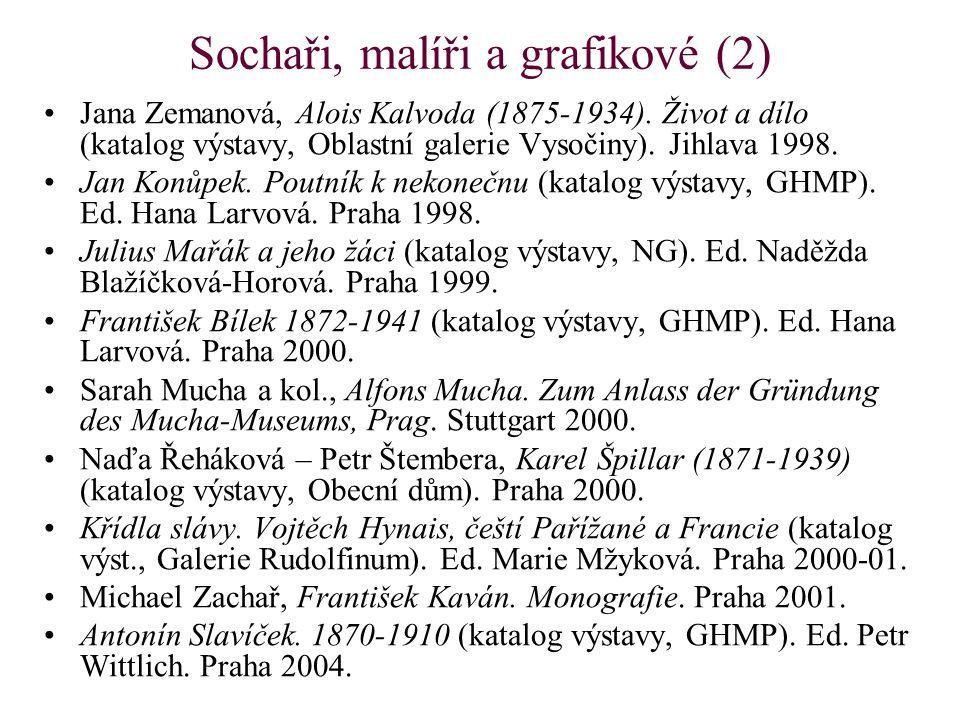 Sochaři, malíři a grafikové (2) Jana Zemanová, Alois Kalvoda (1875-1934). Život a dílo (katalog výstavy, Oblastní galerie Vysočiny). Jihlava 1998. Jan