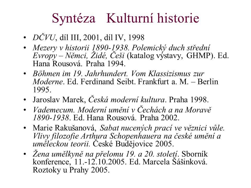 Syntéza Kulturní historie DČVU, díl III, 2001, díl IV, 1998 Mezery v historii 1890-1938. Polemický duch střední Evropy – Němci, Židé, Češi (katalog vý