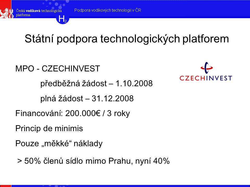"""Státní podpora technologických platforem MPO - CZECHINVEST předběžná žádost – 1.10.2008 plná žádost – 31.12.2008 Financování: 200.000€ / 3 roky Princip de minimis Pouze """"měkké náklady > 50% členů sídlo mimo Prahu, nyní 40%"""