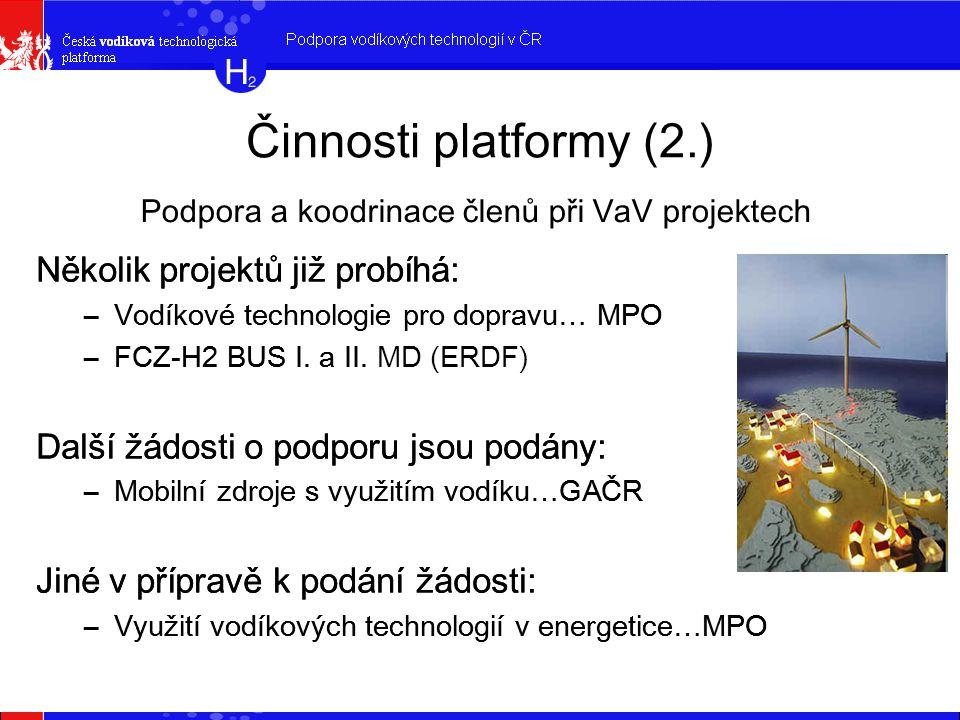 Činnosti platformy (2.) Několik projektů již probíhá: –Vodíkové technologie pro dopravu… MPO –FCZ-H2 BUS I.
