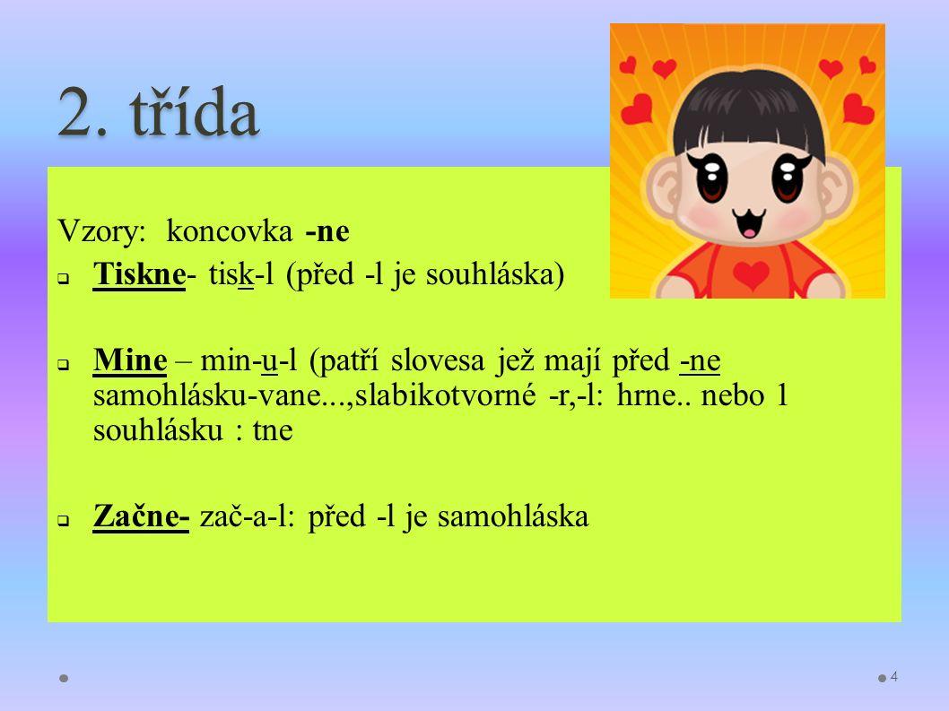 2. třída Vzory: koncovka -ne  Tiskne- tisk-l (před -l je souhláska)  Mine – min-u-l (patří slovesa jež mají před -ne samohlásku-vane...,slabikotvorn