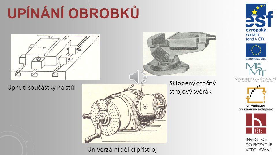 UPÍNÁNÍ OBROBKŮ Upnutí součástky na stůl Sklopený otočný strojový svěrák Univerzální dělící přístroj