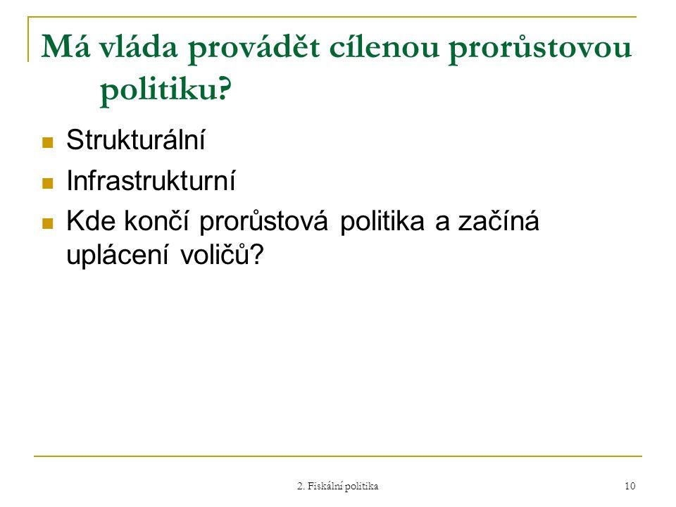 2. Fiskální politika 10 Má vláda provádět cílenou prorůstovou politiku? Strukturální Infrastrukturní Kde končí prorůstová politika a začíná uplácení v