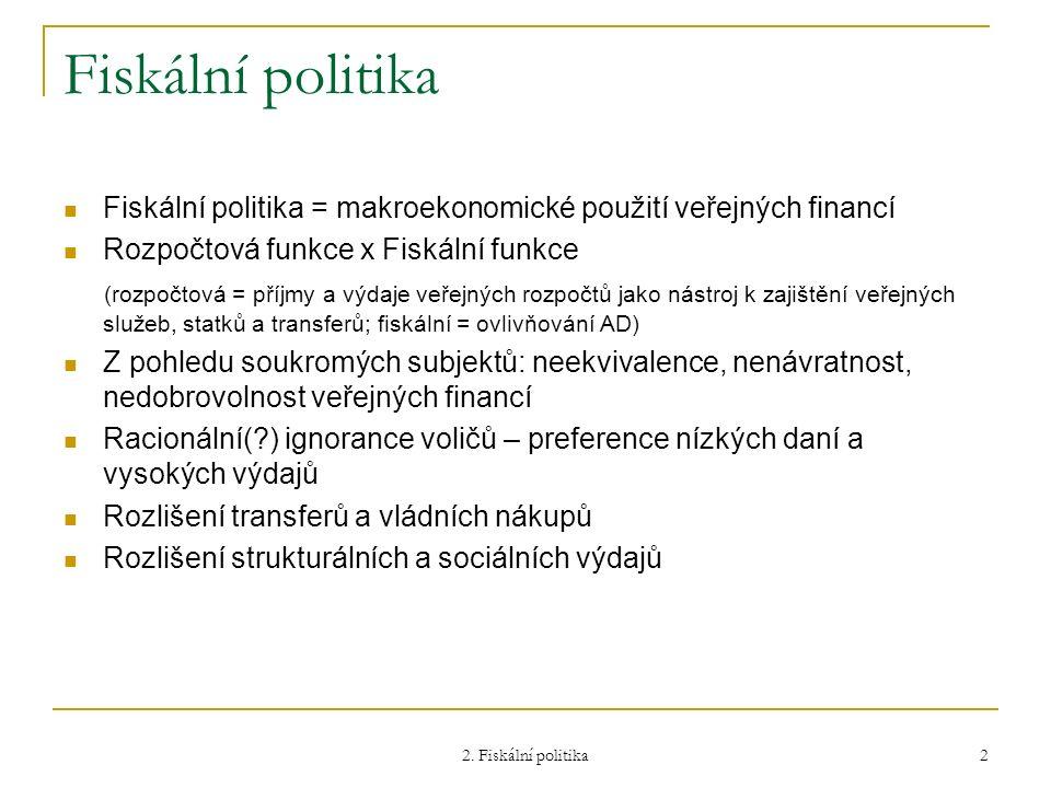 2. Fiskální politika 2 Fiskální politika Fiskální politika = makroekonomické použití veřejných financí Rozpočtová funkce x Fiskální funkce (rozpočtová