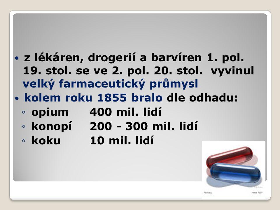 z lékáren, drogerií a barvíren 1.pol. 19. stol. se ve 2.