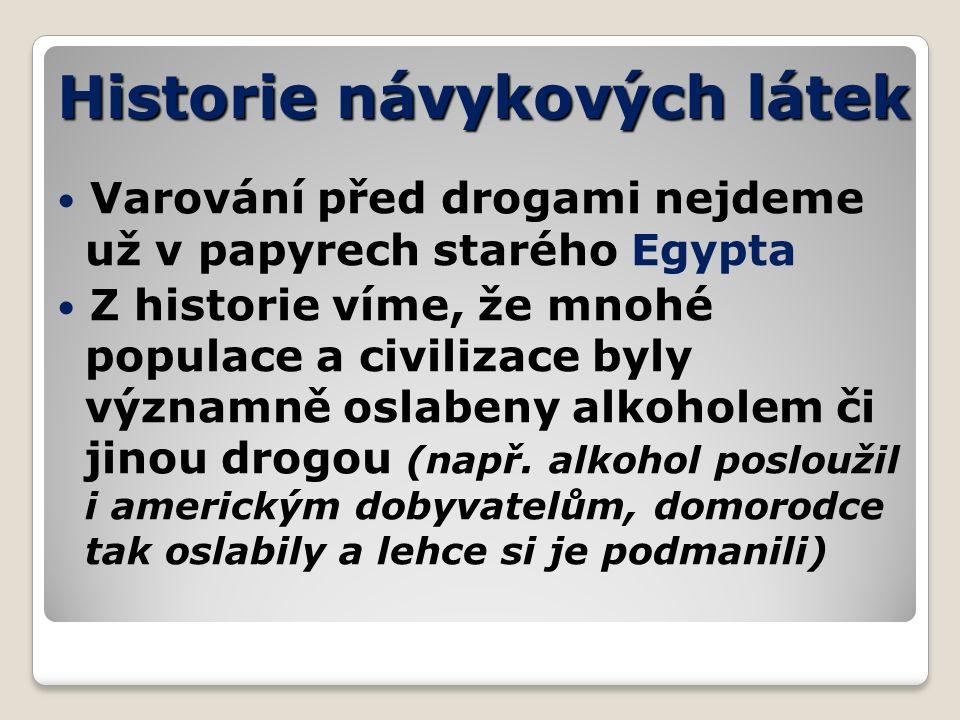 Historie návykových látek Varování před drogami nejdeme už v papyrech starého Egypta Z historie víme, že mnohé populace a civilizace byly významně oslabeny alkoholem či jinou drogou (např.