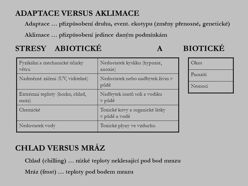 CITLIVOST ORGANISMŮ K CHLADU, t>0°C (CHILLING INJURY) Fyziologická podstata poškození: První příznaky poškození chladem: zpomalení proudění cytoplasmy, snížení rychlosti fotosyntézy.