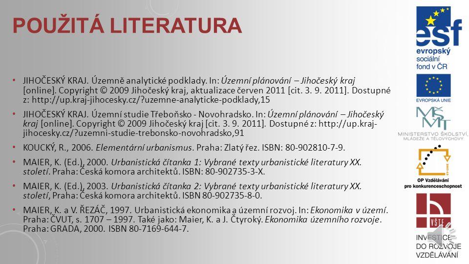POUŽITÁ LITERATURA ČESKO, 2006. Ministerstvo pro místní rozvoj.