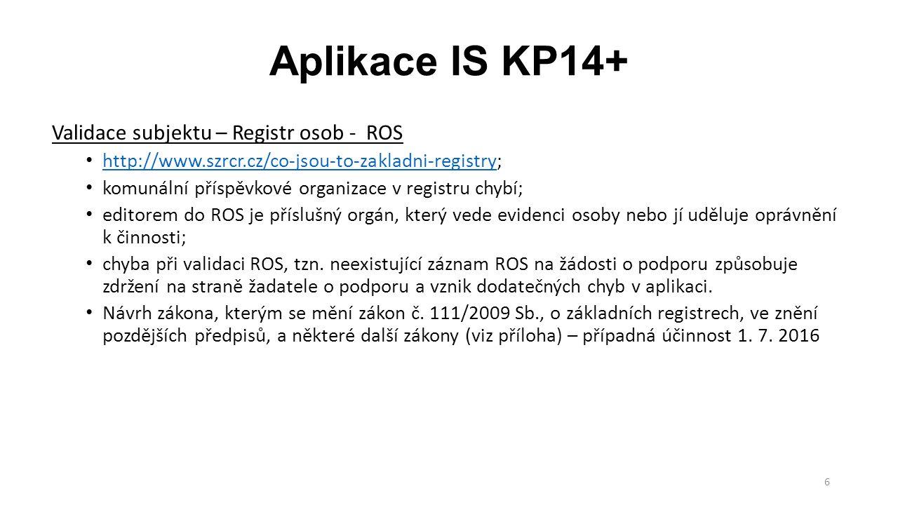 7 Aplikace IS KP14+ Komunikace žadatele/příjemce s ŘO Veškerá komunikace probíhá prostřednictvím aplikace; Depeše – komunikace v rámci týmu, komunikace s poskytovatelem podpory, technickou podporou; Upozornění – informace pro všechny uživatele – odstávky, změny v aplikaci; Notifikace – zasílání upozornění na e-mail či SMS, např.