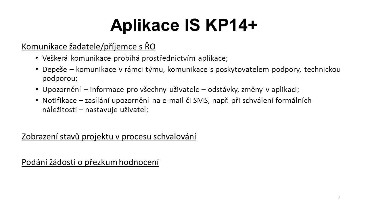 7 Aplikace IS KP14+ Komunikace žadatele/příjemce s ŘO Veškerá komunikace probíhá prostřednictvím aplikace; Depeše – komunikace v rámci týmu, komunikac