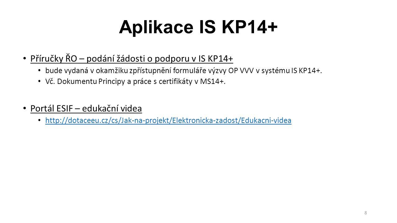 8 Aplikace IS KP14+ Příručky ŘO – podání žádosti o podporu v IS KP14+ bude vydaná v okamžiku zpřístupnění formuláře výzvy OP VVV v systému IS KP14+. V