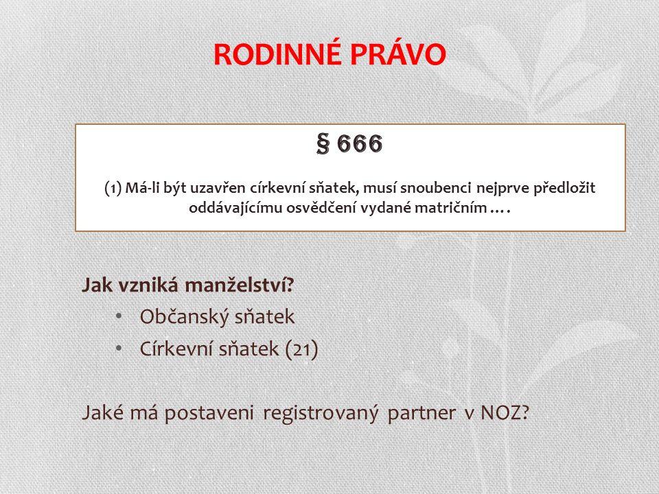 Jak vzniká manželství? Občanský sňatek Církevní sňatek (21) Jaké má postaveni registrovaný partner v NOZ? RODINNÉ PRÁVO § 666 (1) Má-li být uzavřen cí