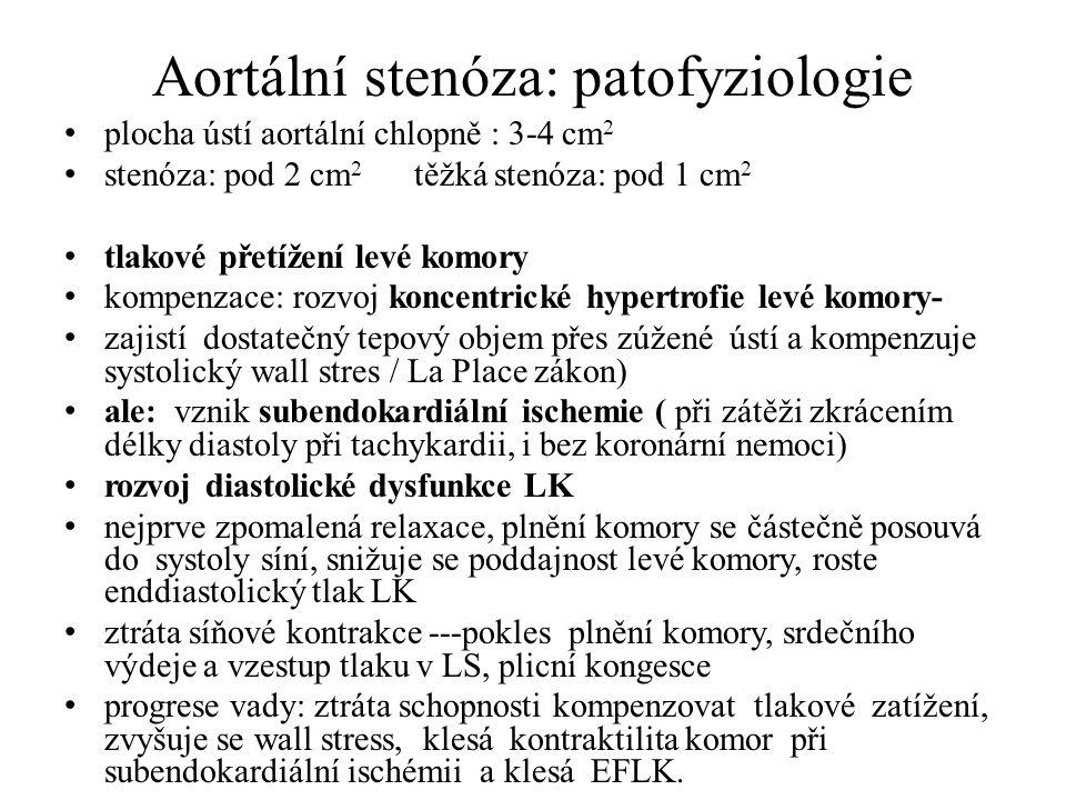 Aortální stenóza: patofyziologie plocha ústí aortální chlopně : 3-4 cm 2 stenóza: pod 2 cm 2 těžká stenóza: pod 1 cm 2 tlakové přetížení levé komory k