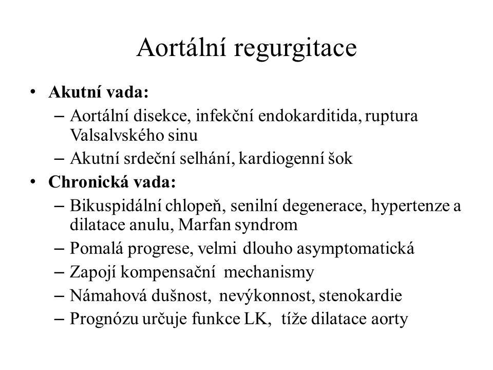 Aortální regurgitace Akutní vada: – Aortální disekce, infekční endokarditida, ruptura Valsalvského sinu – Akutní srdeční selhání, kardiogenní šok Chro