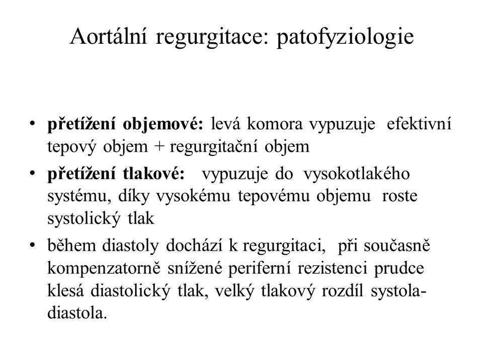 Aortální regurgitace: patofyziologie přetížení objemové: levá komora vypuzuje efektivní tepový objem + regurgitační objem přetížení tlakové: vypuzuje