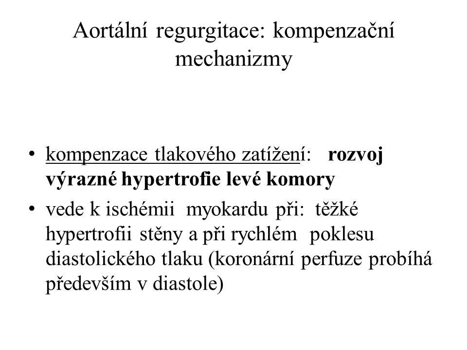 Aortální regurgitace: kompenzační mechanizmy kompenzace tlakového zatížení: rozvoj výrazné hypertrofie levé komory vede k ischémii myokardu při: těžké