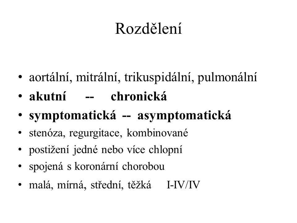 Rozdělení aortální, mitrální, trikuspidální, pulmonální akutní -- chronická symptomatická -- asymptomatická stenóza, regurgitace, kombinované postižen