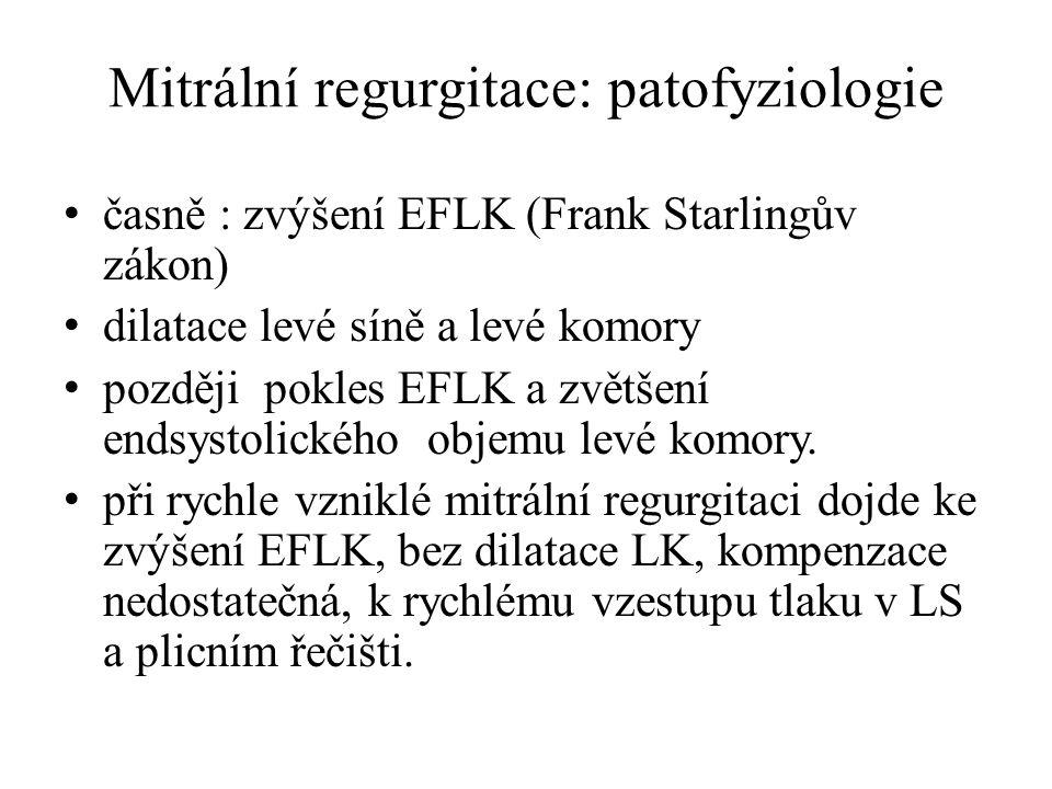 Mitrální regurgitace: patofyziologie časně : zvýšení EFLK (Frank Starlingův zákon) dilatace levé síně a levé komory později pokles EFLK a zvětšení end