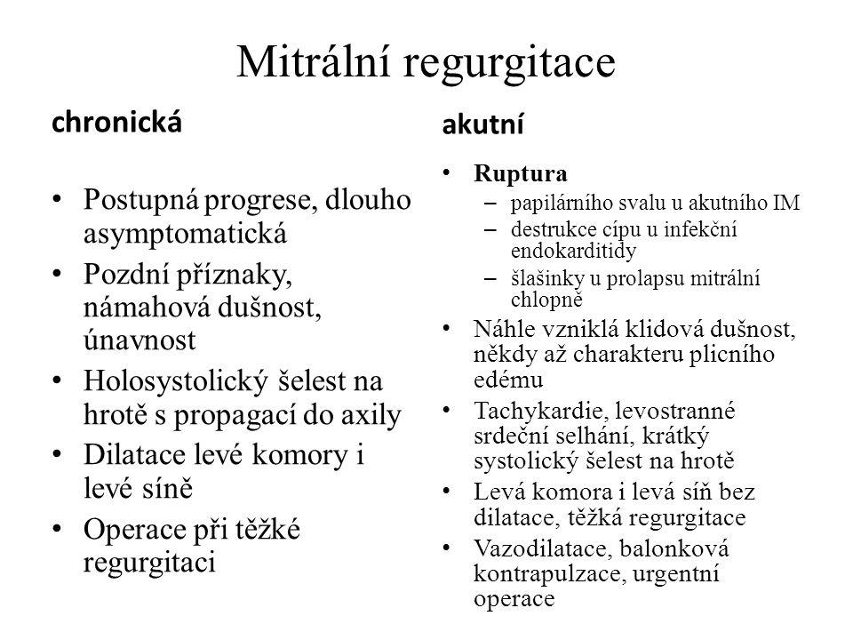 chronická Postupná progrese, dlouho asymptomatická Pozdní příznaky, námahová dušnost, únavnost Holosystolický šelest na hrotě s propagací do axily Dil