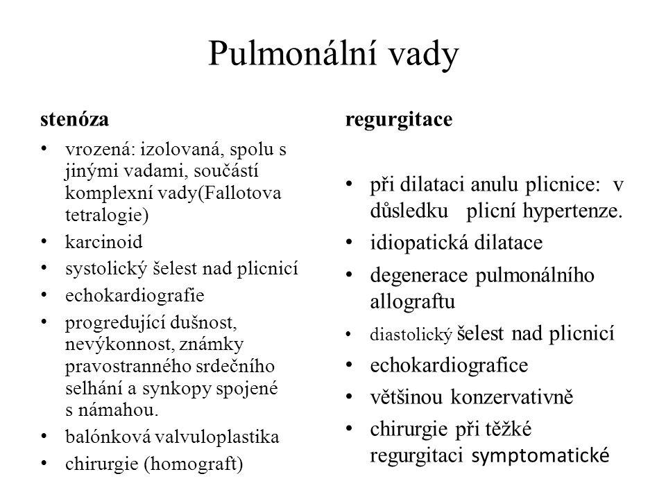 Pulmonální vady stenóza vrozená: izolovaná, spolu s jinými vadami, součástí komplexní vady(Fallotova tetralogie) karcinoid systolický šelest nad plicn