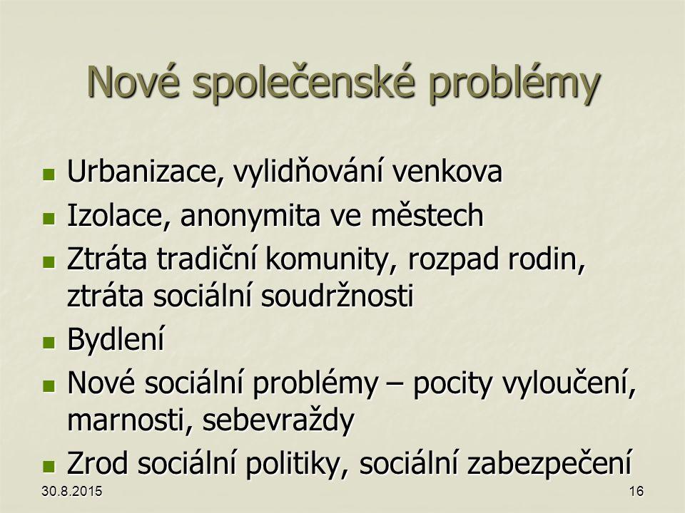 Nové společenské problémy Urbanizace, vylidňování venkova Urbanizace, vylidňování venkova Izolace, anonymita ve městech Izolace, anonymita ve městech