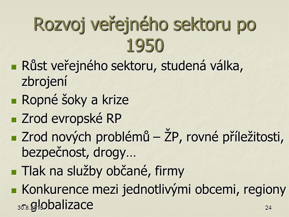 Rozvoj veřejného sektoru po 1950 Růst veřejného sektoru, studená válka, zbrojení Růst veřejného sektoru, studená válka, zbrojení Ropné šoky a krize Ro
