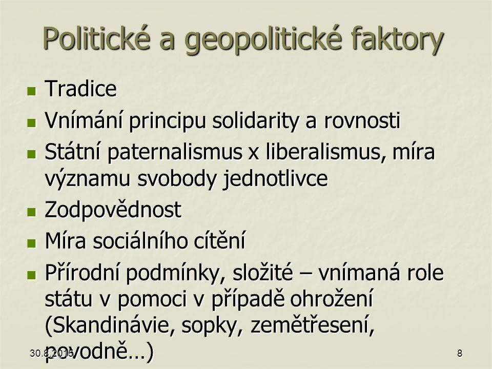 Politické a geopolitické faktory Tradice Tradice Vnímání principu solidarity a rovnosti Vnímání principu solidarity a rovnosti Státní paternalismus x
