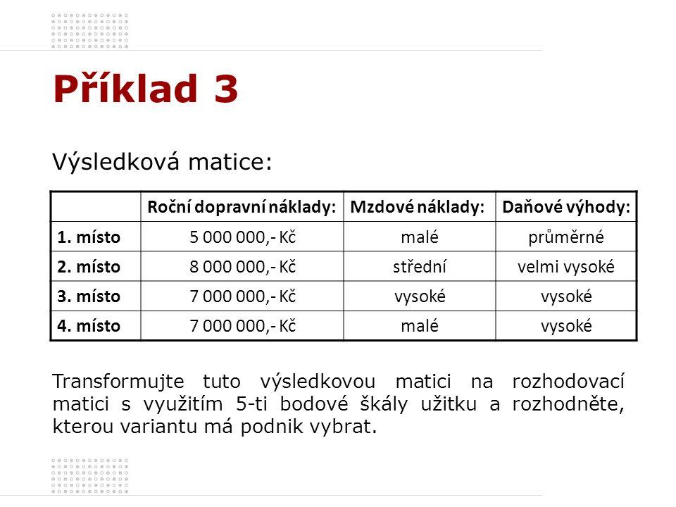 Příklad 3 Výsledková matice: Roční dopravní náklady:Mzdové náklady:Daňové výhody: 1. místo5 000 000,- Kčmaléprůměrné 2. místo8 000 000,- Kčstřednívelm