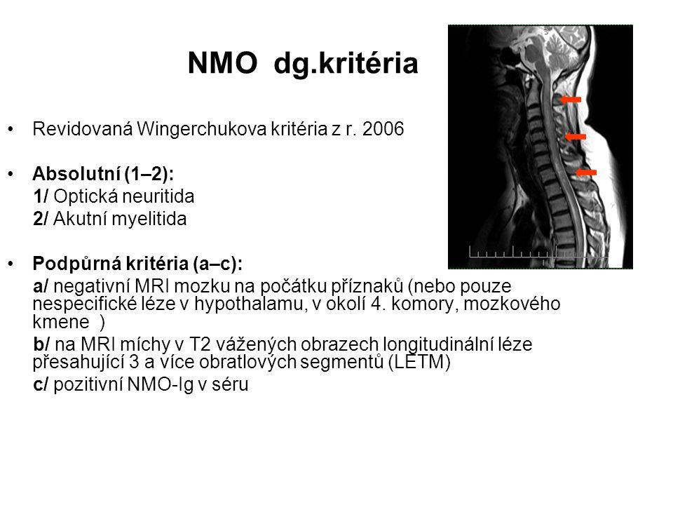 NMO dg.kritéria Revidovaná Wingerchukova kritéria z r. 2006 Absolutní (1–2): 1/ Optická neuritida 2/ Akutní myelitida Podpůrná kritéria (a–c): a/ nega