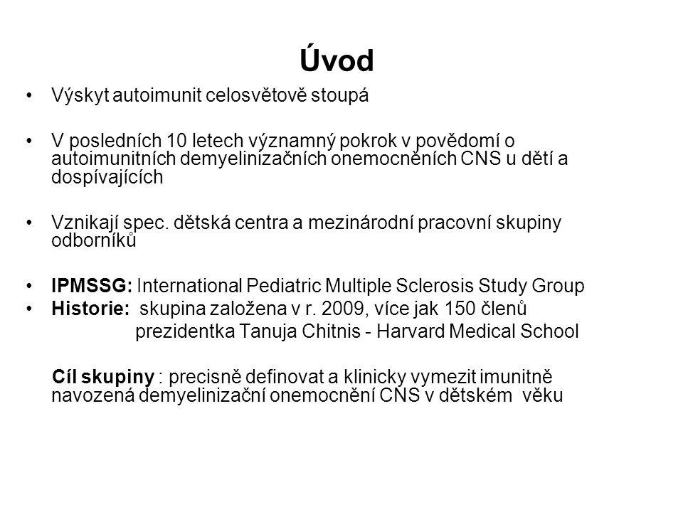 Úvod Význam: najít společný jazyk hodnocení pro klinické a výzkumné účely Workshopy: Evelina Children´s Hospital London 2011 Washington 2012, Boston 2014 Definice získaných demyelinizačních syndromů CNS: 1.