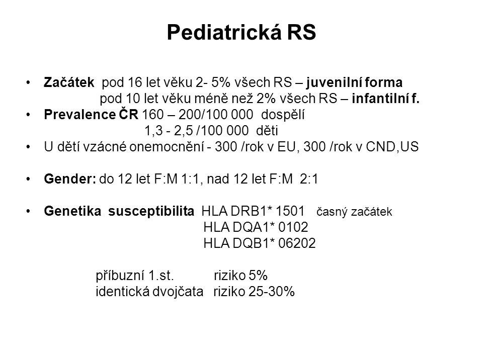Pediatrická RS Začátek pod 16 let věku 2- 5% všech RS – juvenilní forma pod 10 let věku méně než 2% všech RS – infantilní f. Prevalence ČR 160 – 200/1