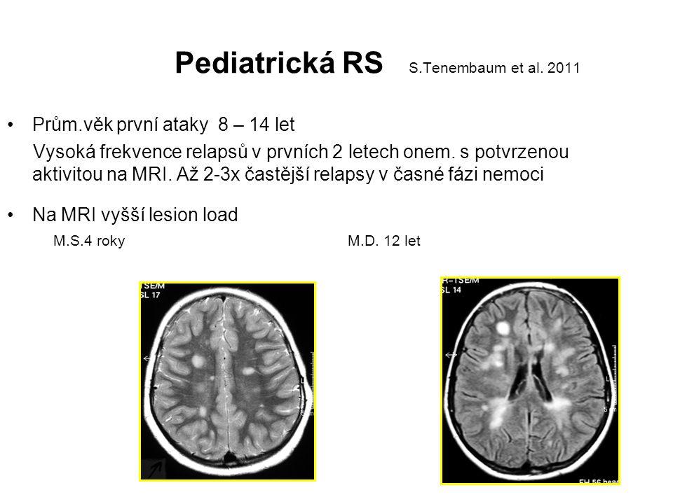 Pediatrická RS S.Tenembaum et al. 2011 Prům.věk první ataky 8 – 14 let Vysoká frekvence relapsů v prvních 2 letech onem. s potvrzenou aktivitou na MRI