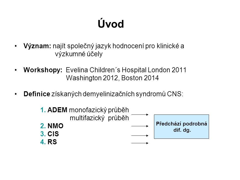 NMO dg.kritéria Revidovaná Wingerchukova kritéria z r.