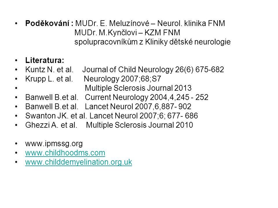 Poděkování : MUDr. E. Meluzínové – Neurol. klinika FNM MUDr. M.Kynčlovi – KZM FNM spolupracovníkům z Kliniky dětské neurologie Literatura: Kuntz N. et