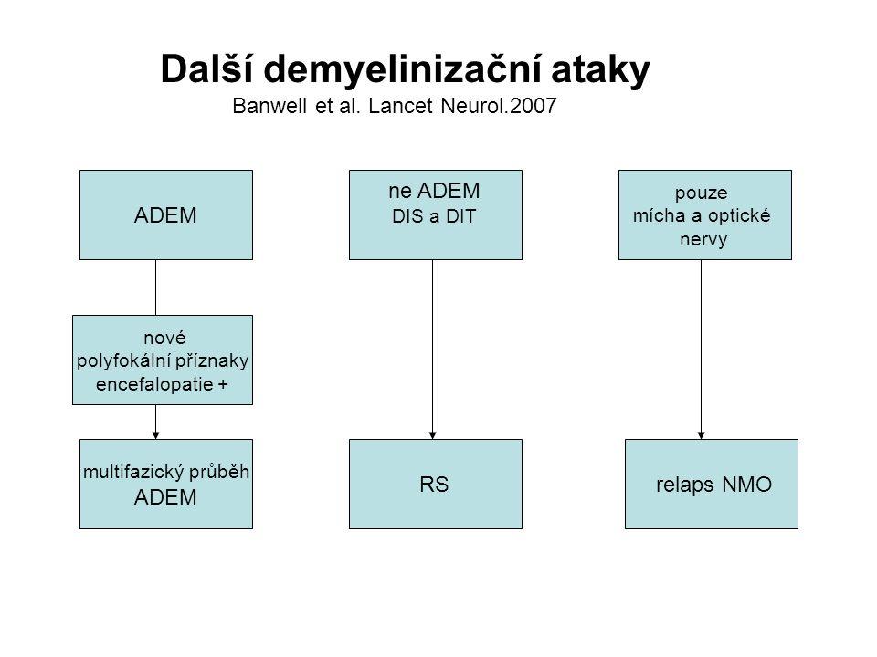 Další demyelinizační ataky Banwell et al. Lancet Neurol.2007 ADEM pouze mícha a optické nervy ne ADEM DIS a DIT relaps NMORS multifazický průběh ADEM
