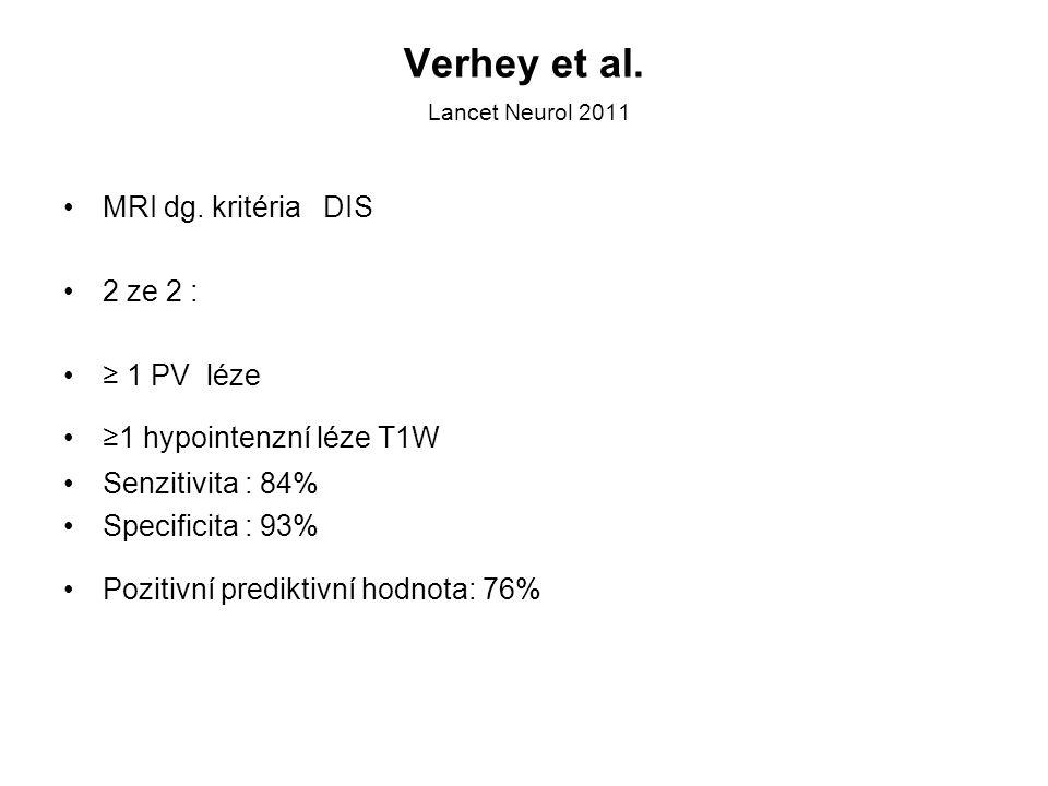 Verhey et al. Lancet Neurol 2011 MRI dg. kritéria DIS 2 ze 2 : ≥ 1 PV léze ≥1 hypointenzní léze T1W Senzitivita : 84% Specificita : 93% Pozitivní pred