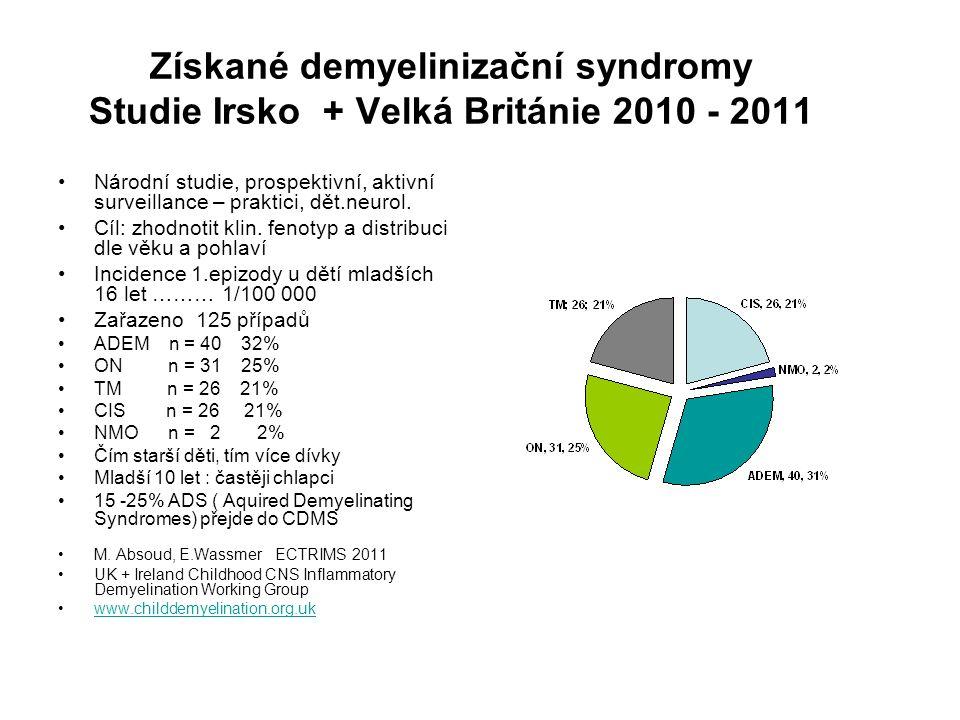 Získané demyelinizační syndromy Studie Irsko + Velká Británie 2010 - 2011 Národní studie, prospektivní, aktivní surveillance – praktici, dět.neurol. C