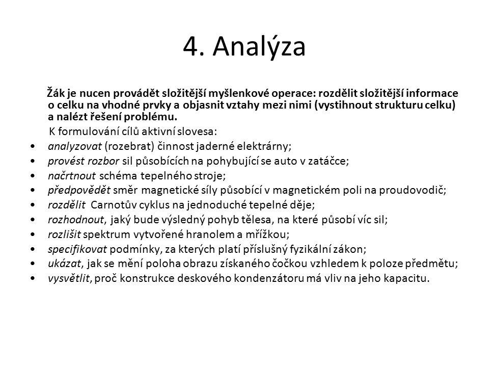 4. Analýza Žák je nucen provádět složitější myšlenkové operace: rozdělit složitější informace o celku na vhodné prvky a objasnit vztahy mezi nimi (vys
