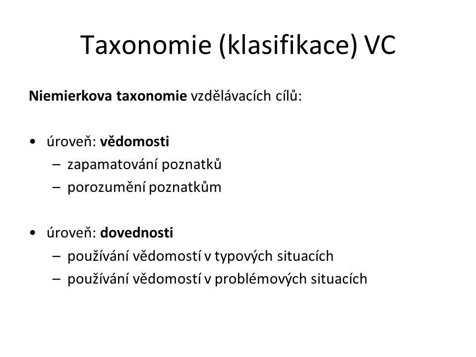 Taxonomie (klasifikace) VC Niemierkova taxonomie vzdělávacích cílů: úroveň: vědomosti –zapamatování poznatků –porozumění poznatkům úroveň: dovednosti