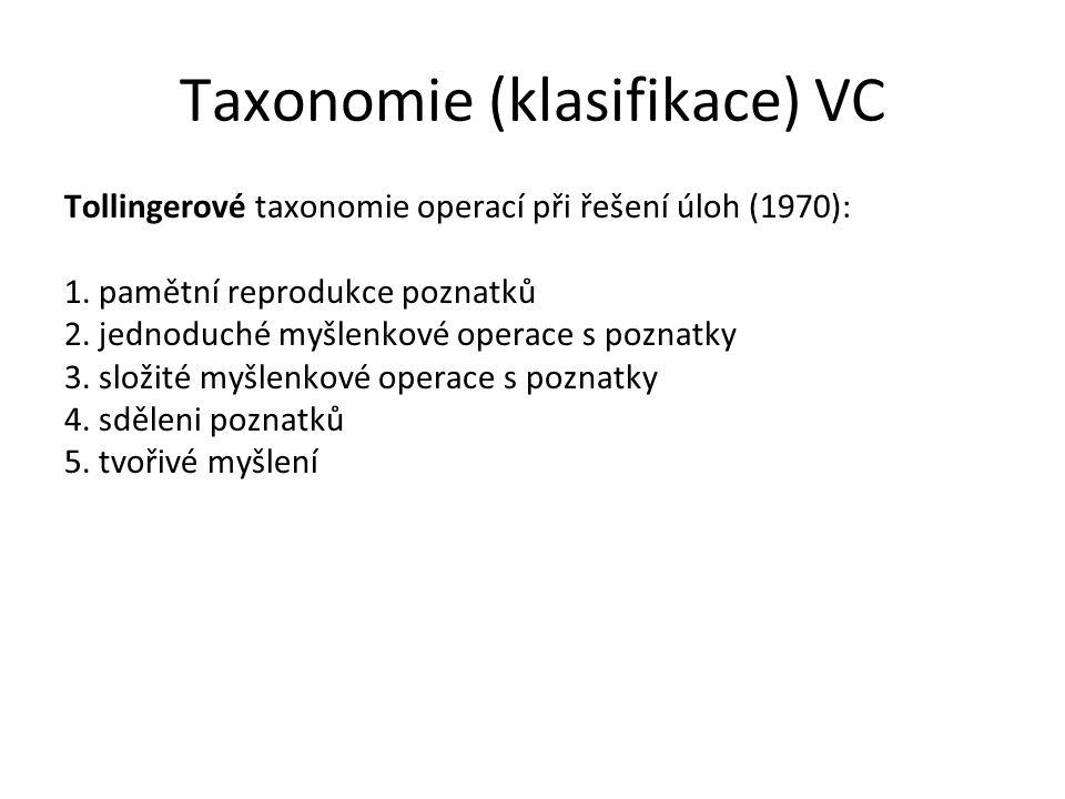 Taxonomie (klasifikace) VC Tollingerové taxonomie operací při řešení úloh (1970): 1. pamětní reprodukce poznatků 2. jednoduché myšlenkové operace s po