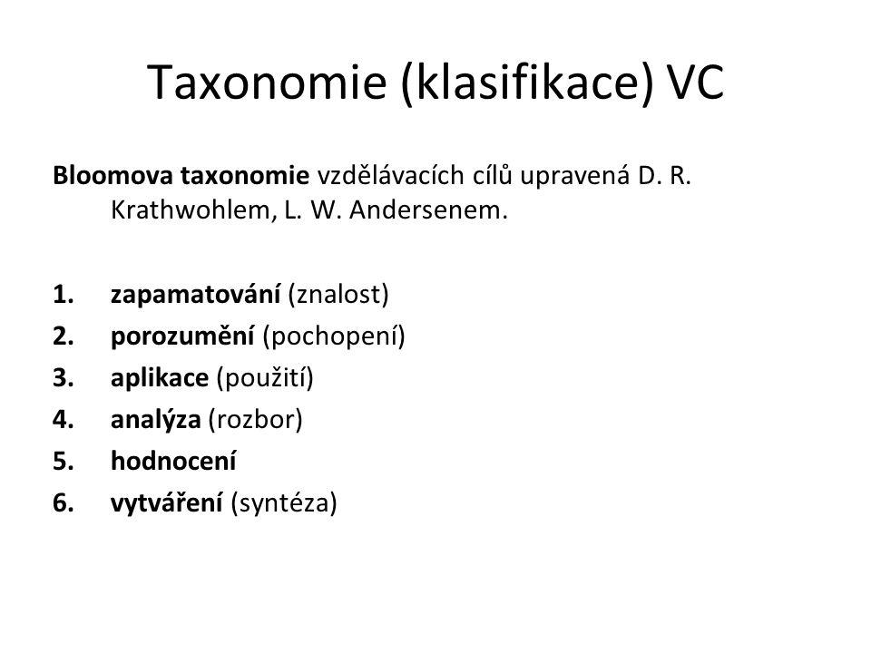 Taxonomie (klasifikace) VC Bloomova taxonomie vzdělávacích cílů upravená D. R. Krathwohlem, L. W. Andersenem. 1.zapamatování (znalost) 2.porozumění (p