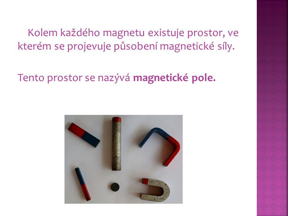 Kolem každého magnetu existuje prostor, ve kterém se projevuje působení magnetické síly. Tento prostor se nazývá magnetické pole.