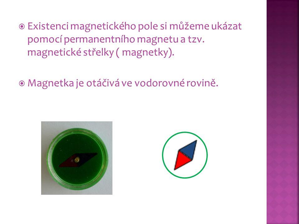 Existenci magnetického pole si můžeme ukázat pomocí permanentního magnetu a tzv. magnetické střelky ( magnetky).  Magnetka je otáčivá ve vodorovné