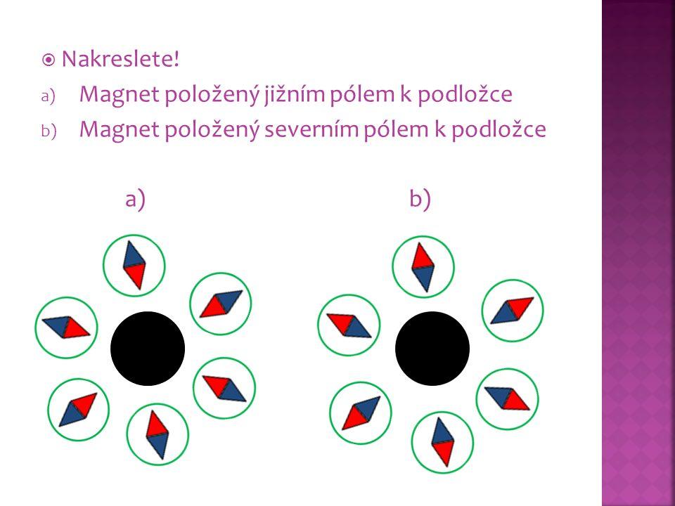  Nakreslete! a) Magnet položený jižním pólem k podložce b) Magnet položený severním pólem k podložce a) b)