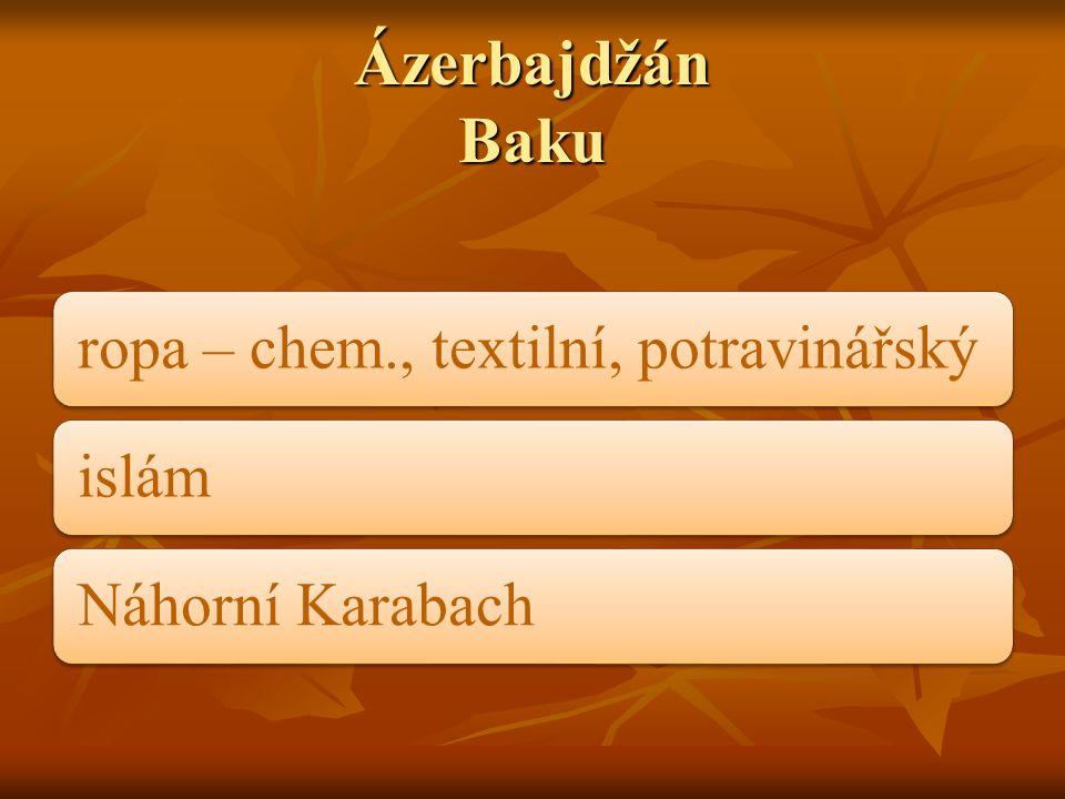 Ázerbajdžán Baku ropa – chem., textilní, potravinářskýislámNáhorní Karabach